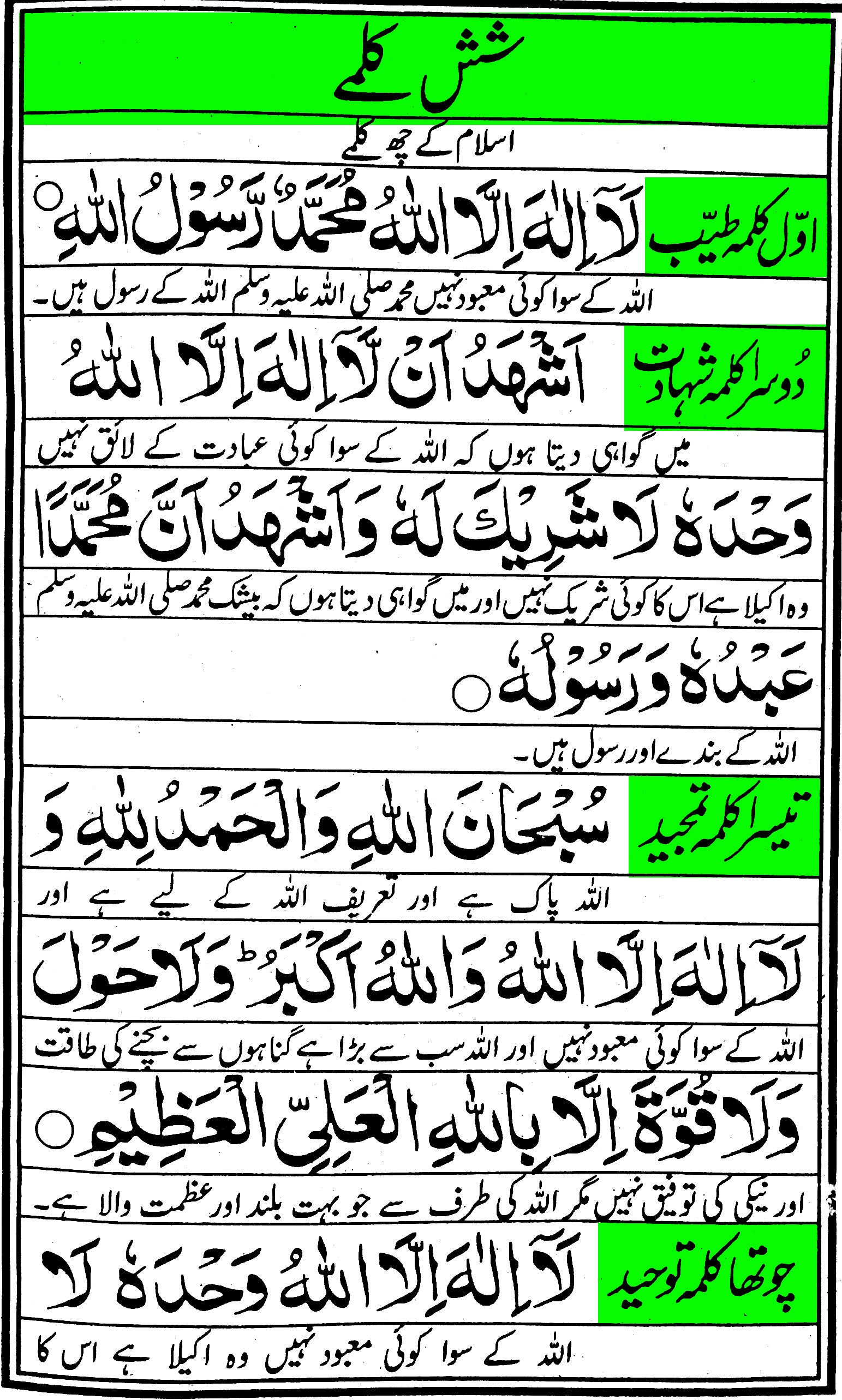 Sish Kalma 6 Kalmas With Urdu Translation Dua E Khair Or Afiyat Silence Of A Mysterious Mind